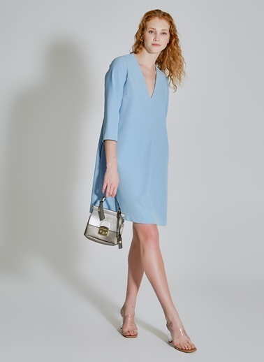 People By Fabrika Cepli Basic Elbise Mavi